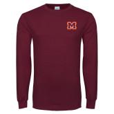 Maroon Long Sleeve T Shirt-Primary Logo