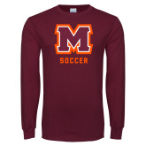 Maroon Long Sleeve T Shirt-Soccer