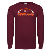 Maroon Long Sleeve T Shirt-Football Arched