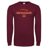 Maroon Long Sleeve T Shirt-Baseball Laces on Top