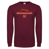 Maroon Long Sleeve T Shirt-Softball Laces on Top