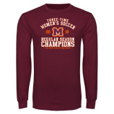 Maroon Long Sleeve T Shirt-2019 Womens Soccer Champions