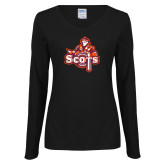 Ladies Black Long Sleeve V Neck T Shirt-Secondary Logo
