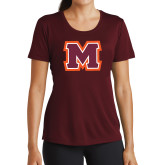Ladies Performance Maroon Tee-Primary Logo