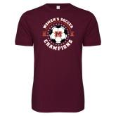 Next Level SoftStyle Maroon T Shirt-2019 Womens Soccer USA SAC Champions