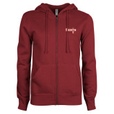 ENZA Ladies Maroon Fleece Full Zip Hoodie-Tertiary Mark