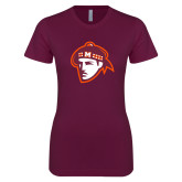 Next Level Ladies SoftStyle Junior Fitted Maroon Tee-Scot Head
