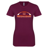 Next Level Ladies SoftStyle Junior Fitted Maroon Tee-Football Arched