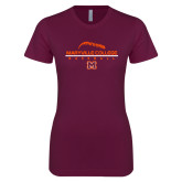 Next Level Ladies SoftStyle Junior Fitted Maroon Tee-Baseball Laces on Top