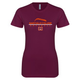 Next Level Ladies SoftStyle Junior Fitted Maroon Tee-Softball Laces on Top