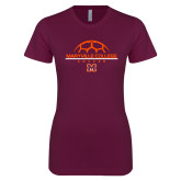 Next Level Ladies SoftStyle Junior Fitted Maroon Tee-Soccer Ball on Top