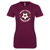 Next Level Ladies SoftStyle Junior Fitted Maroon Tee-2019 Womens Soccer USA SAC Champions