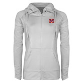 Ladies Sport Wick Stretch Full Zip White Jacket-Primary Logo