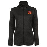 Black Heather Ladies Fleece Jacket-Primary Logo