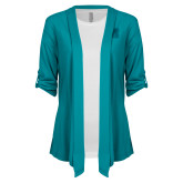 Ladies Teal Drape Front Cardigan-Primary Logo