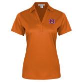 Ladies Orange Performance Fine Jacquard Polo-Primary Logo