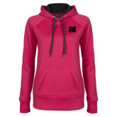 Ladies Pink Raspberry Tech Fleece Hoodie-Primary Logo