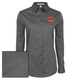 Ladies Grey Tonal Pattern Long Sleeve Shirt-Primary Logo