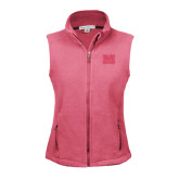 Ladies Fleece Full Zip Raspberry Vest-Primary Logo