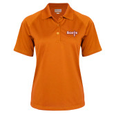 Ladies Orange Textured Saddle Shoulder Polo-Tertiary Mark