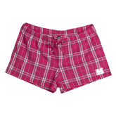Ladies Dark Fuchsia/White Juniors Flannel Plaid Boxer-Primary Logo