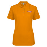 Ladies Easycare Orange Pique Polo-Tertiary Mark