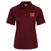 Ladies Maroon Textured Saddle Shoulder Polo-Primary Logo