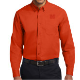 Orange Twill Button Down Long Sleeve-Primary Logo