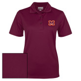 Ladies Maroon Dry Mesh Polo-Primary Logo