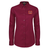 Ladies Maroon Twill Button Down Long Sleeve-Primary Logo