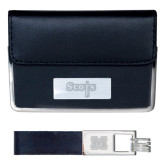 Business Card Case and Key Ring Set Black-Tertiary Mark Engraved