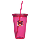 Madison Double Wall Pink Tumbler w/Straw 16oz-Primary Logo