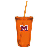 Madison Double Wall Orange Tumbler w/Straw 16oz-Primary Logo