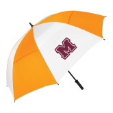 62 Inch Orange/White Umbrella-Primary Logo