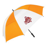 62 Inch Orange/White Umbrella-Secondary Logo