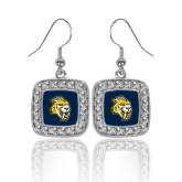 Crystal Studded Square Pendant Silver Dangle Earrings-Sabercat Head