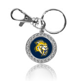 Crystal Studded Round Key Chain-Sabercat Head