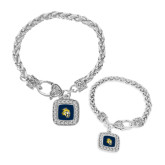 Silver Braided Rope Bracelet With Crystal Studded Square Pendant-Sabercat Head