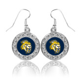 Crystal Studded Round Pendant Silver Dangle Earrings-Sabercat Head