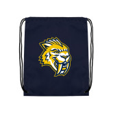 Nylon Navy Drawstring Backpack-Sabercat Head