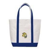 Contender White/Navy Canvas Tote-Sabercat Head