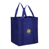 Non Woven Navy Grocery Tote-Sabercat Head