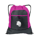 Nylon Pink Raspberry/Deep Smoke Pocket Drawstring Backpack-Sabercat Head