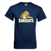 Navy T Shirt-Sabercat Swoosh