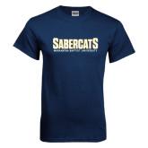 Navy T Shirt-Sabercats Maranatha Word Mark