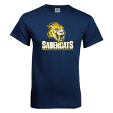 Navy T Shirt-Sabercat Stacked