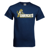 Navy T Shirt-Sabercats With Lunge