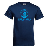 Navy T Shirt-Maranatha Crusader Mark
