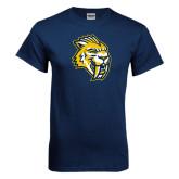 Navy T Shirt-Sabercat Head Distressed