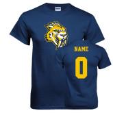Navy T Shirt-Sabercat Head, Custom Tee w/ Name and #